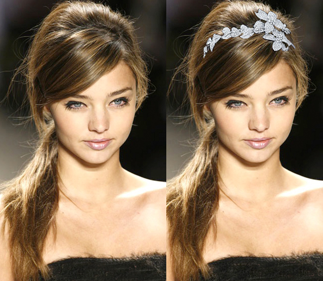 Messy Side Ponytail with Floral Headband Tiara  cbf0aa2d5e4