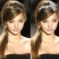 Messy Side Ponytail with Floral Headband Tiara