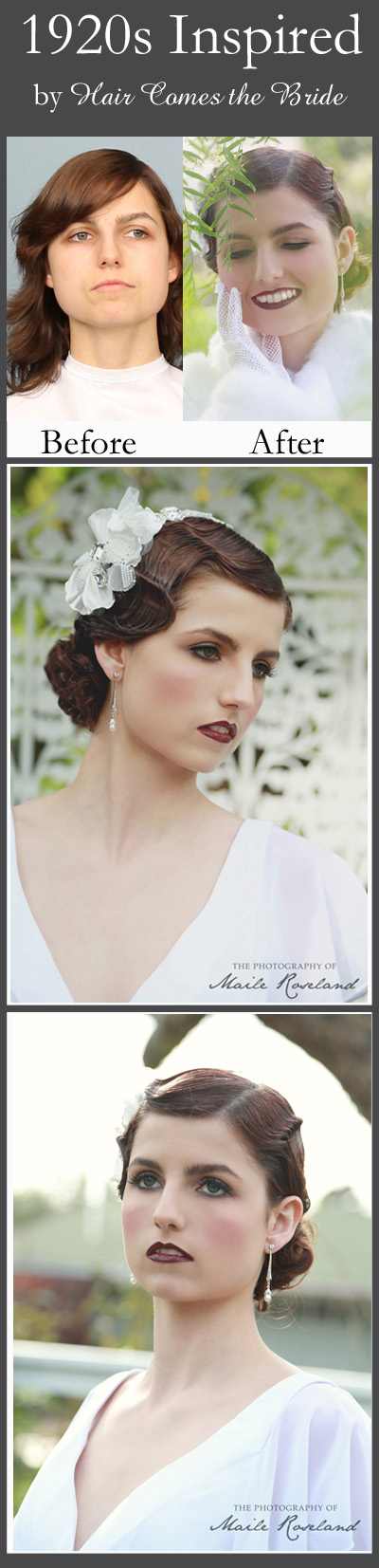 1920s wedding hair and makeup hair comes the bride