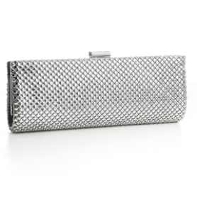 "Rhinestone Mesh Bridal Clutch ""Evelyn""In Silver or Champagne"