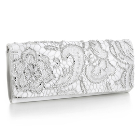 "Lace Beaded Bridal Clutch ""Olivia""In Ivory or Champagne"