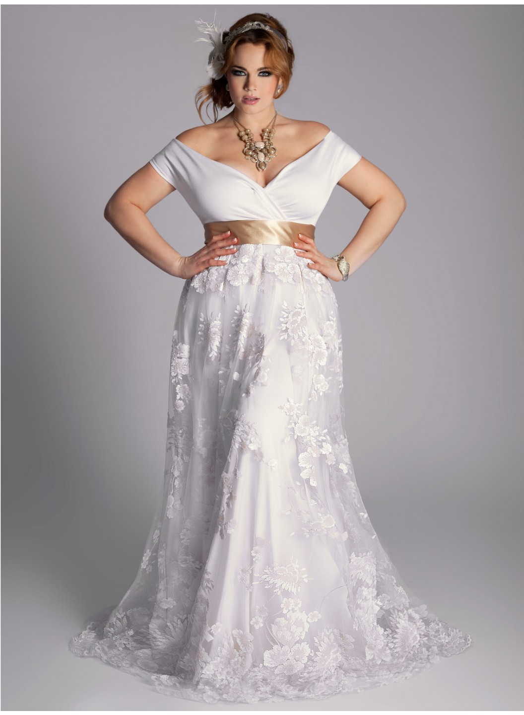 Vintage plus size wedding dress hair comes the bride for Sexy plus size wedding dresses